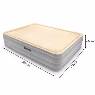 Electric Air Pump Queen Inflatable Mattress With Memory Foam Top