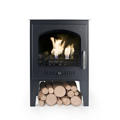 Bio Fires - Wood Burner Style Traditional Bioethanol Stove With Logs Black