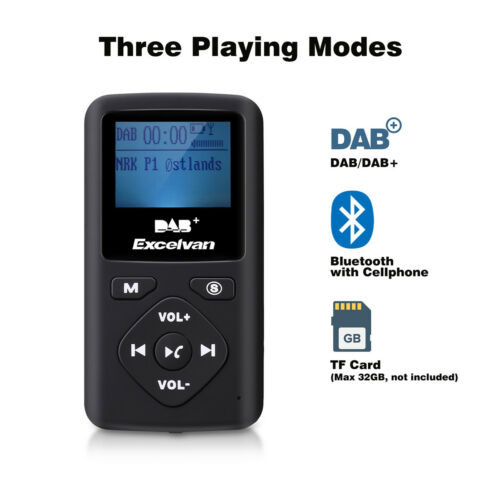 Mini Pocket DAB/DAB+ Digital FM Radio mit Bluetooth MP3 Player Headphone Tragbar