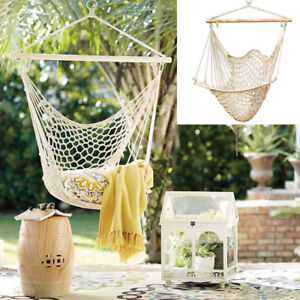 hanging chair ebay white lounge covers indoor hammock swing rope seat net tree outdoor porch patio