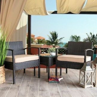 3 PC Rattan Wicker Furniture Table Chair Sofa Cushioned Patio Outdoor Gardening