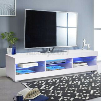 """57"""" Modern White TV Stand Unit Console Table with LED Light Entertainment Center"""
