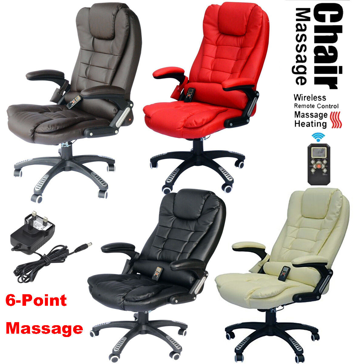 6 Point Heated Vibrating Massage Office Chair Wireless