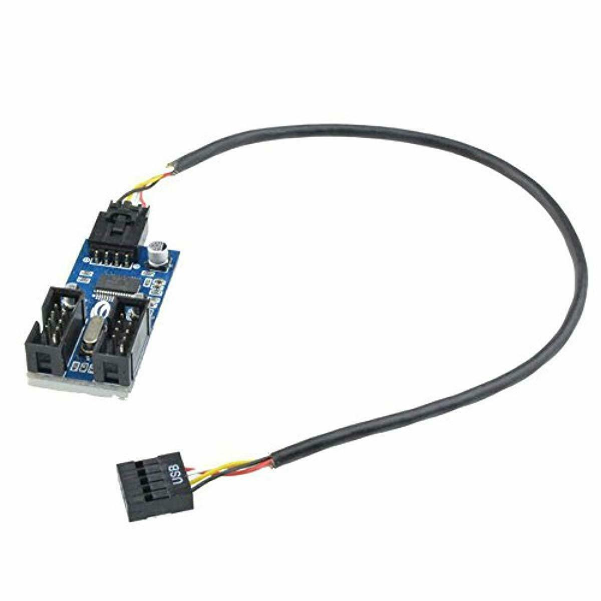 9pin USB Header Male 1 to 2 Female Extension Splitter