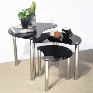 glass table sets for living room area rugs size coffee set ebay modern black furniture contemporary nesting 3