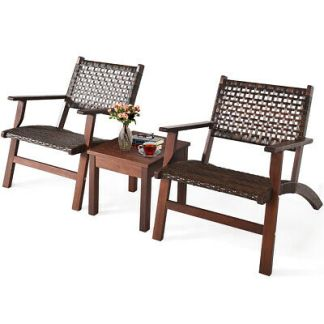 3PCS Outdoor Patio Rattan Furniture Set Solid Wood Frame Chair Coffee Table
