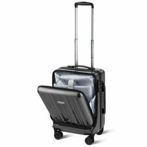 Carry On Luggage 20 Front Pocket Business Trolley Spinner with Double TSA Locks