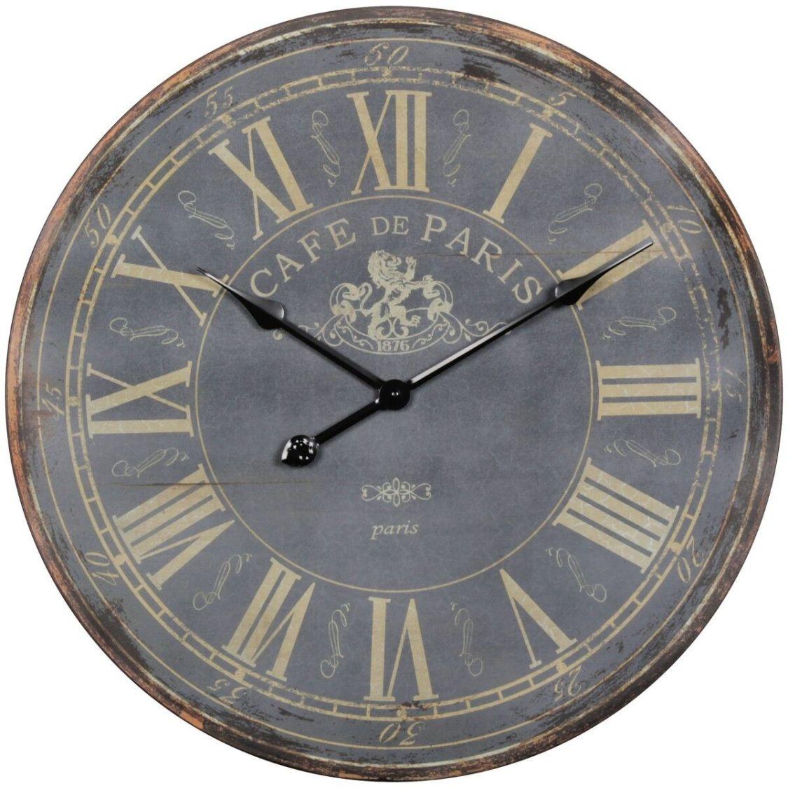 Vintage Wanduhr XXL 60 cm Paris Holz Uhr groß Dekouhr Küchenuhr römische Ziffern
