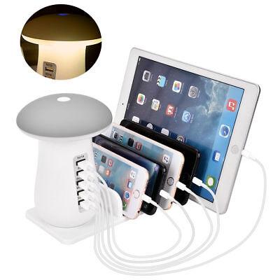 5 Port USB Charging Station Dock Stand Desktop Multi Charger Hub f. Phone Tablet