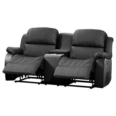 Kinosofa Lakos Sofa 2-sitzer schwarz mit Relaxfunktion und Getränkehalter