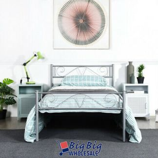 Twin Size Metal Bed Frame Silver Mattress Foundation with Headboard Footboard