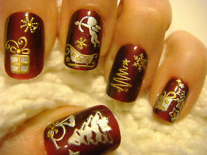 White And Gold Christmas Nail Art