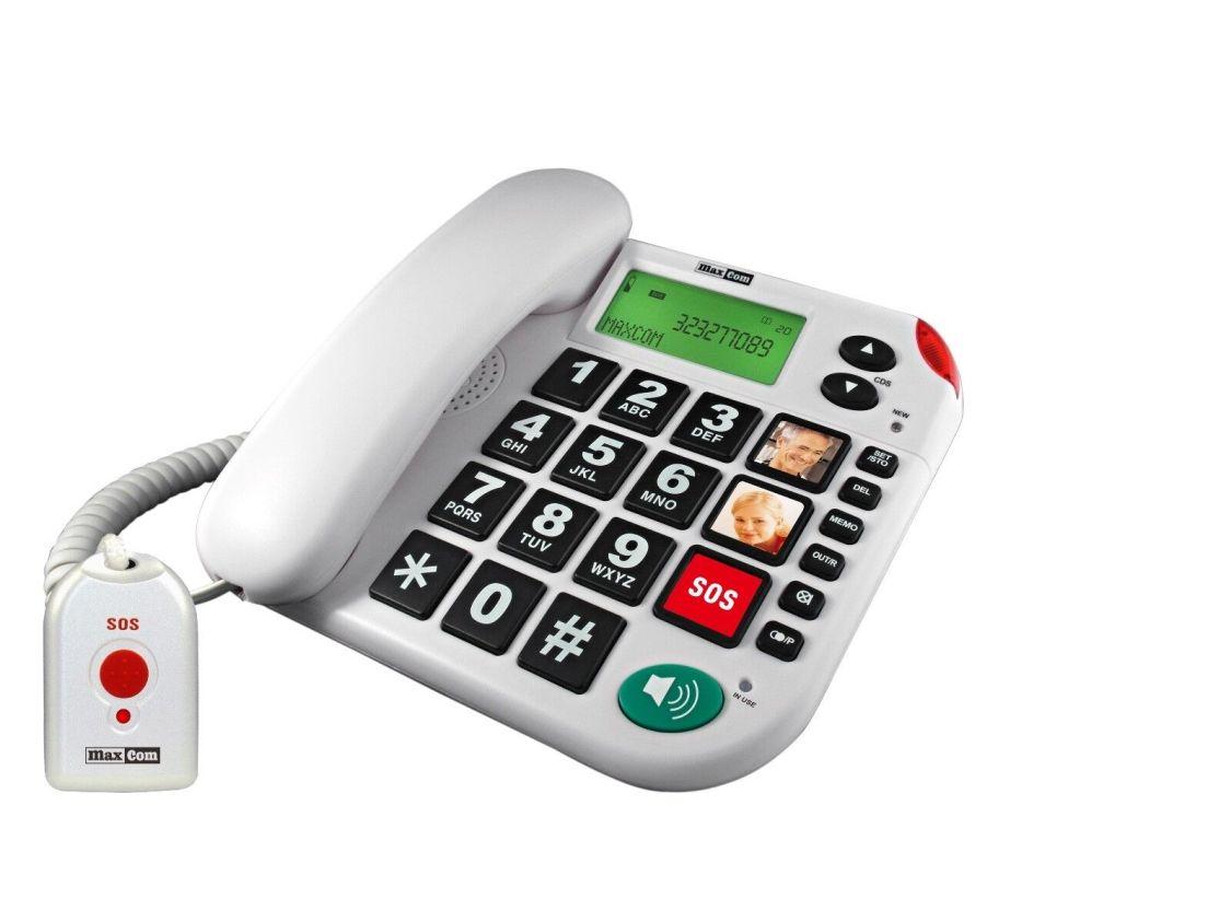 Senioren-Notruf-Telefon mit Notruf-Sender und Adapterstecker Maxcom KXTSOS