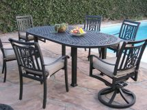 7 Piece Outdoor Patio Furniture Aluminum Dining Set Ao