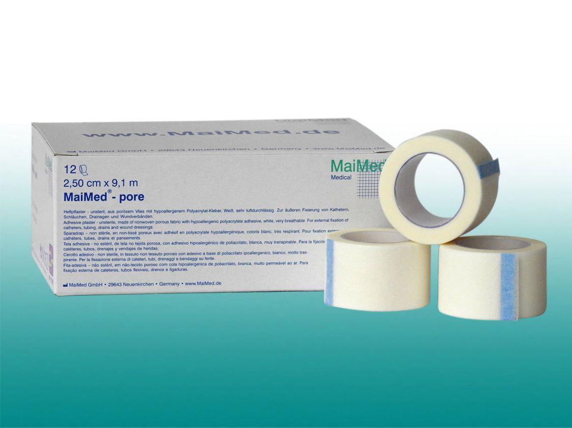MaiMed pore 12er Pack Rollenpflaster 2,5 cm x 9,1 m Fixierpflaster weiß
