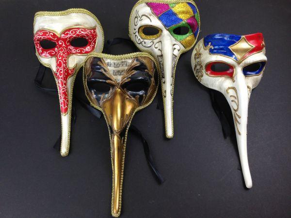 Men' Long Nose Masquerade Mask Halloween Venetian Mardi Gras Vintage Gold Masks