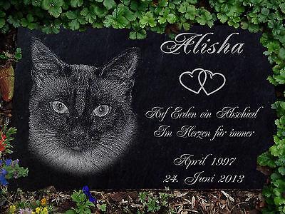 Grabstein Gedenkstein Gedenkplatte Siam Katzen Katze-010 ►Textgravur◄ 30 x 20 cm