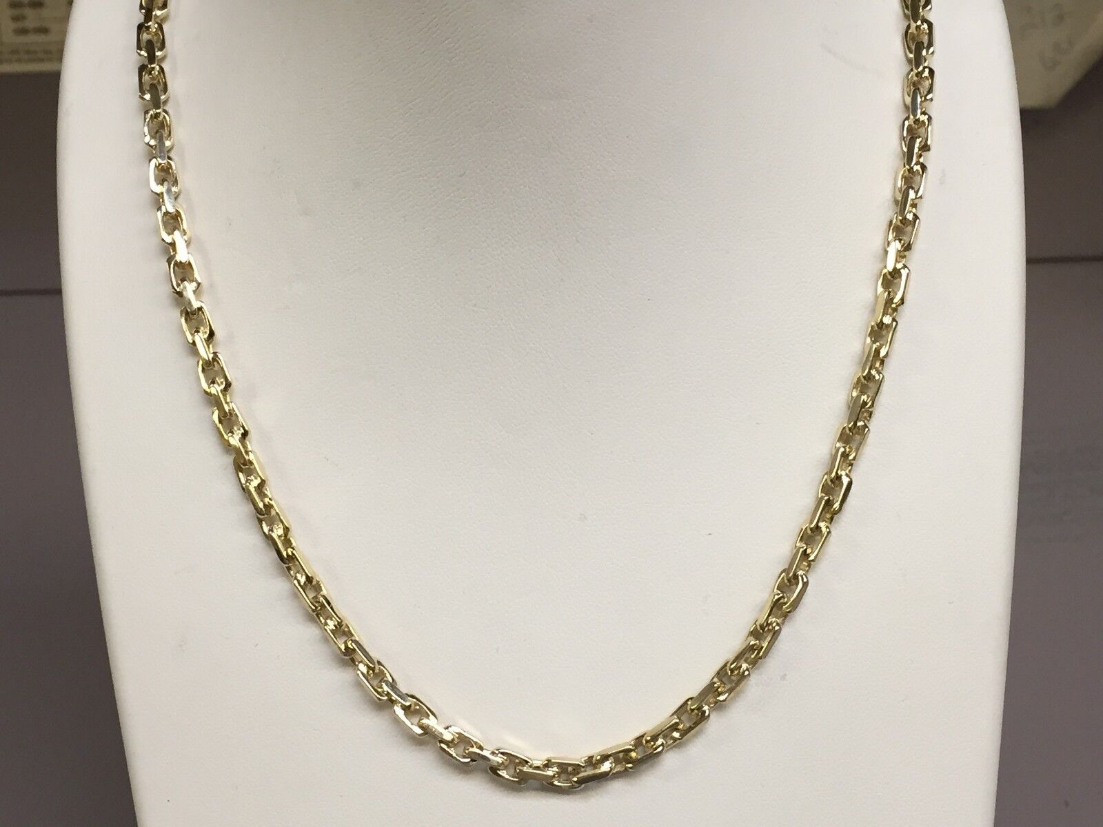 18kt Solid Yellow Gold Anchor Link Men' Chain Necklace 22