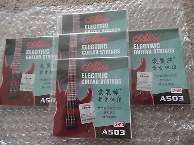 UK FIRST CLASS POST -5 x Alice Electric Guitar 2nd B String Gauge 011 2nd B