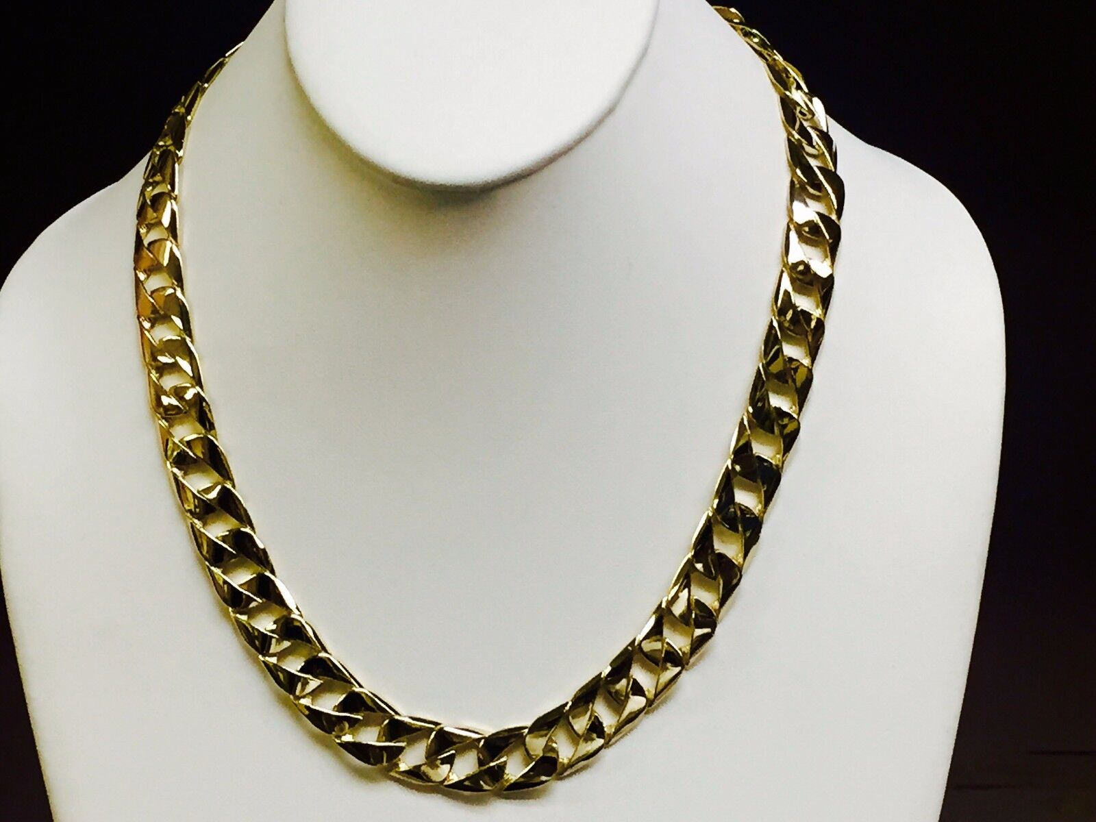 10kt Solid Gold Handmade Curb Link Mens Chain Necklace 20