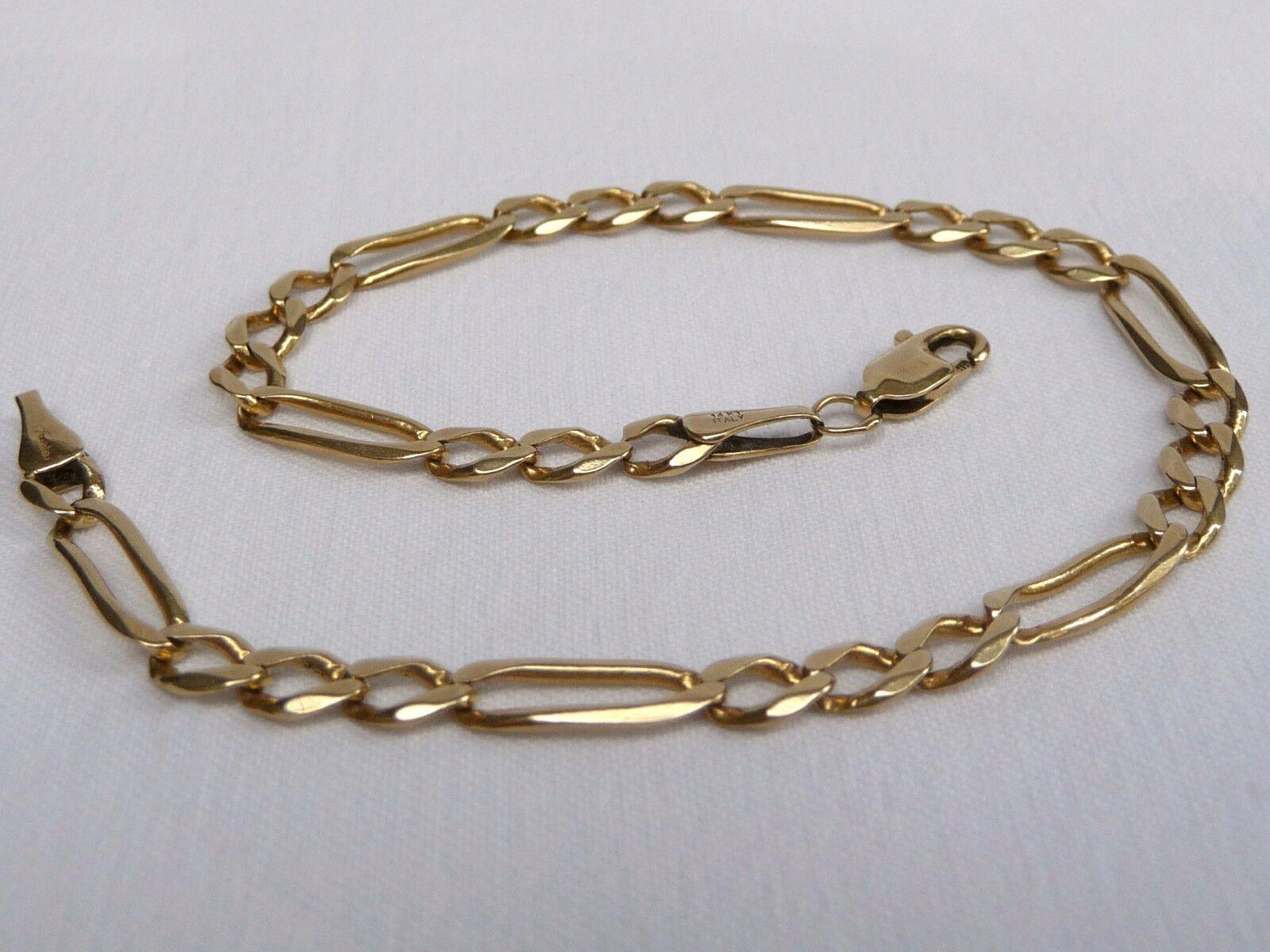 14k Solid Yellow Gold Aurafin Bracelet Figaro Link 8
