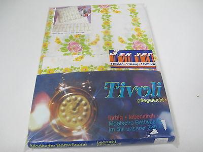 Tivoli  Bettwäsche Pflegeleicht  3 Tlg.  Blumen  70er Jahre True Vintage  **R40