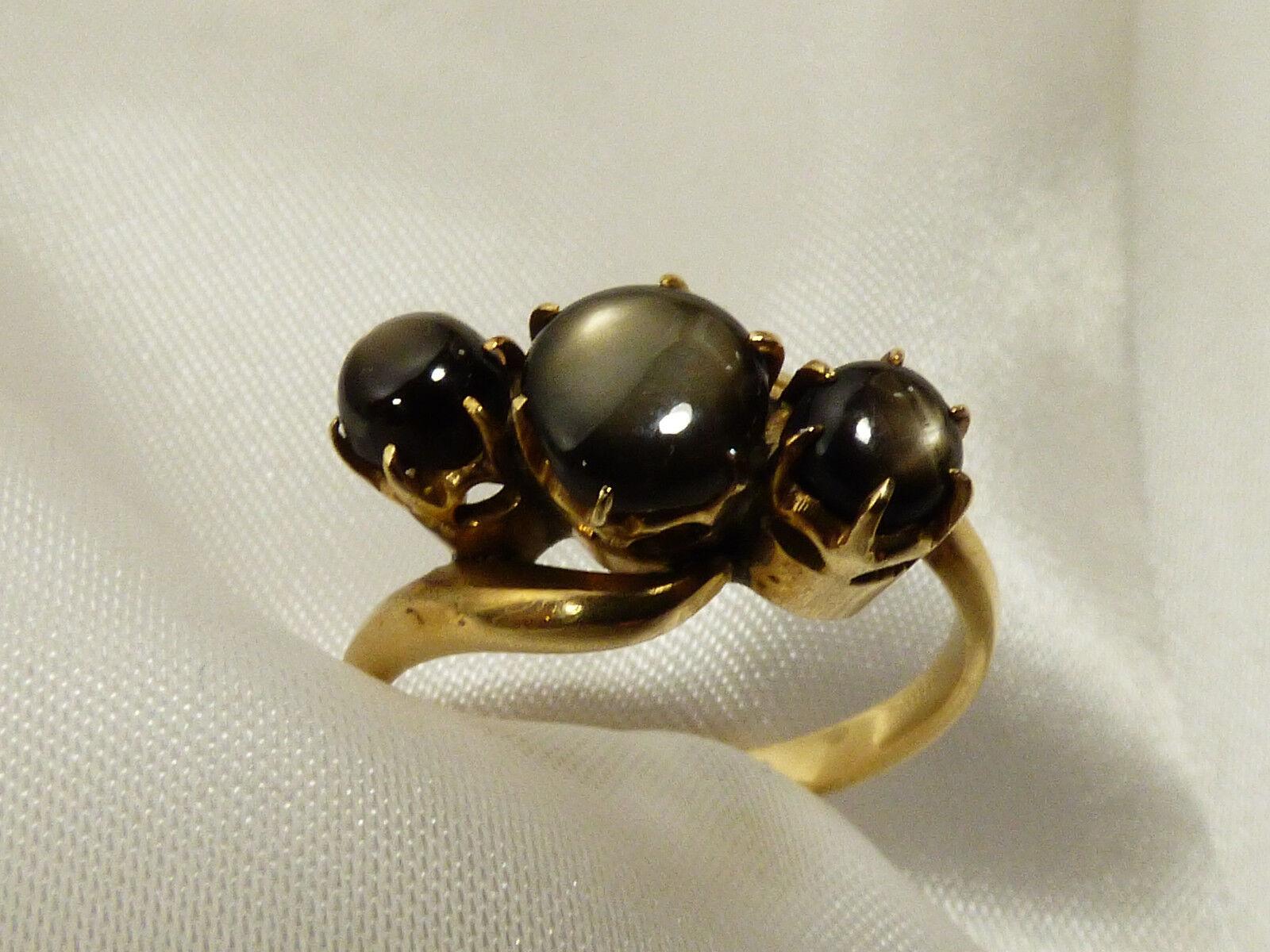 Vtg 14k Gold 3 Stone Black Star Sapphire Ring Sz 7.25