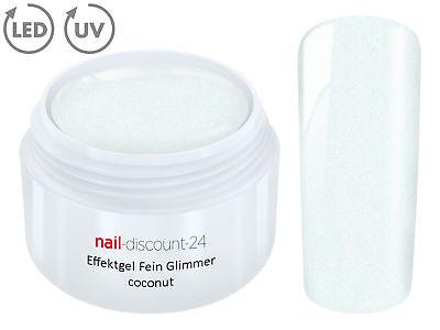 UV LED Effekt Gel Fein Glimmer COCONUT Farb Color Feiner Glitzer Glitter Weiß