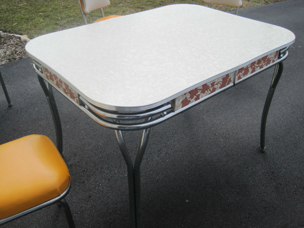 Vintage Formica Chrome Kitchen Table Set w Chairs Retro