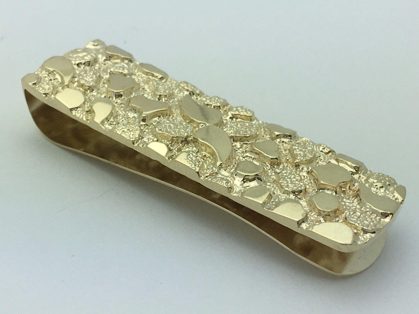 Men' 14k Yellow Gold Nugget Money Clip Holder Wallet 1.9