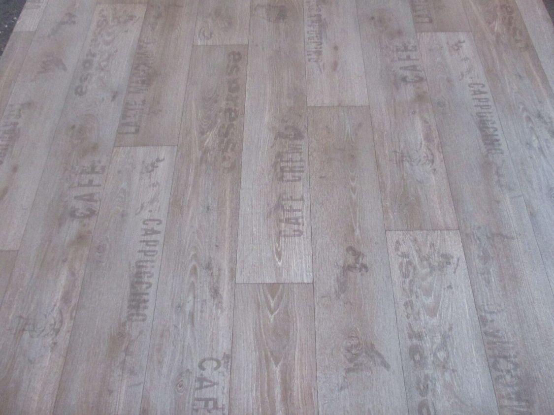 PVC (6€/m²) CV Bodenbelag Holz Schriftzüge Kaffee Küchen Optik 2 Meter breite