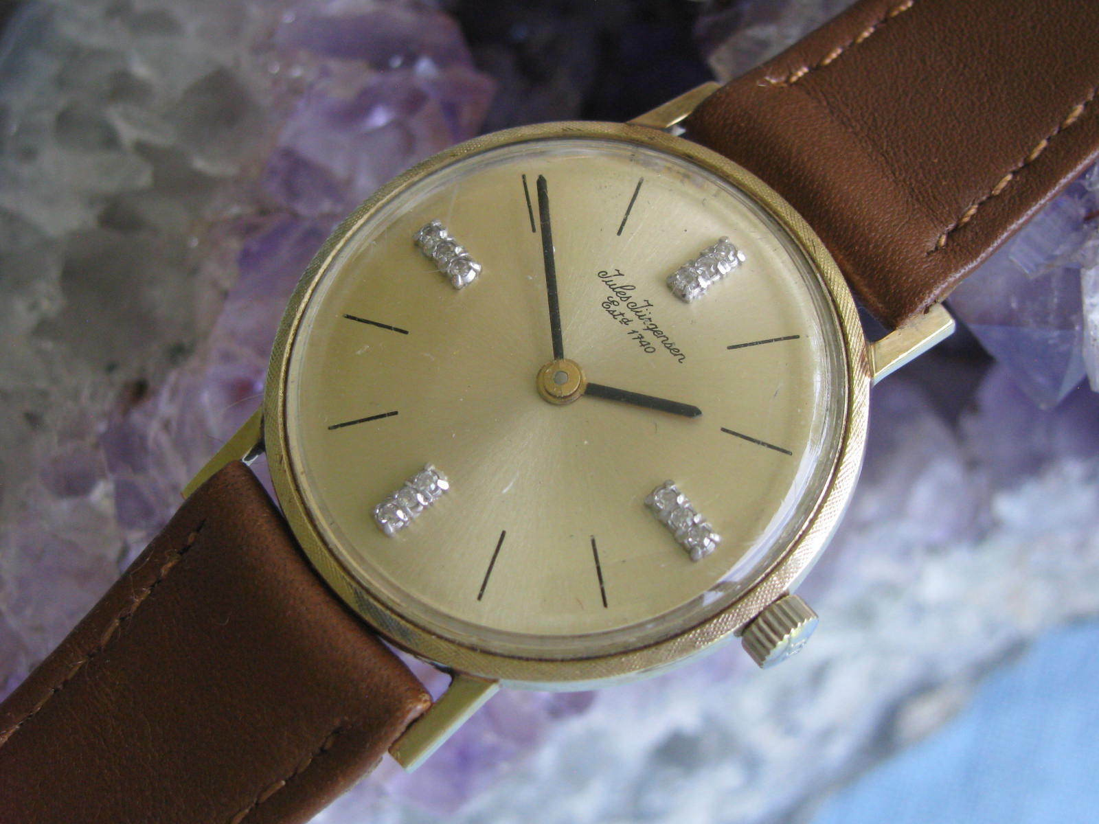 Jules Jurgensen Vintage 14k Gold Wrist Watch Diamond Dial