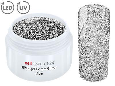 UV LED GEL EXTREM GLITTER Effekt SILVER Glitzer Color Farb Nail Modellage Silber