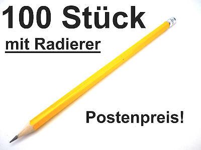 100 Bleistifte mit Radierer Härtegrad HB Stift Bleistift Radiergummi NEU
