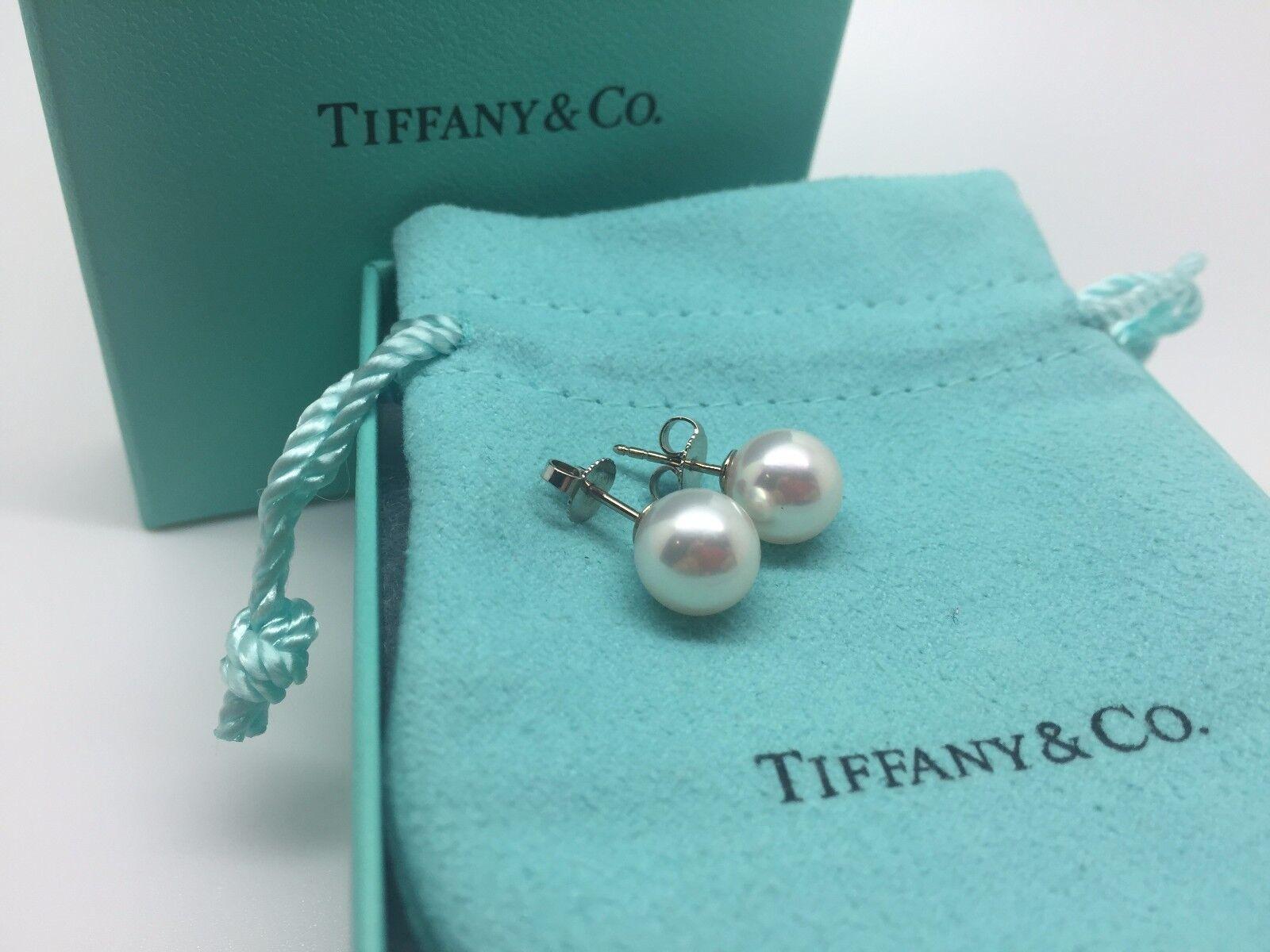 Tiffany 18k White Gold 8-8.5 Mm Akoya Pearl Stud