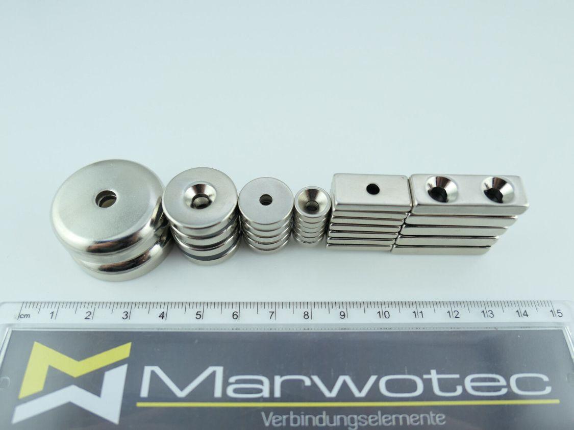 Neodym Magnet mit Bohrung und Senkung N45 Magnete mit Loch wählbar