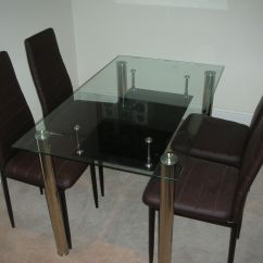 Kitchen Table And 6 Chairs Uk Green Arm Chair New Glass Dining Set Faux Leather 4
