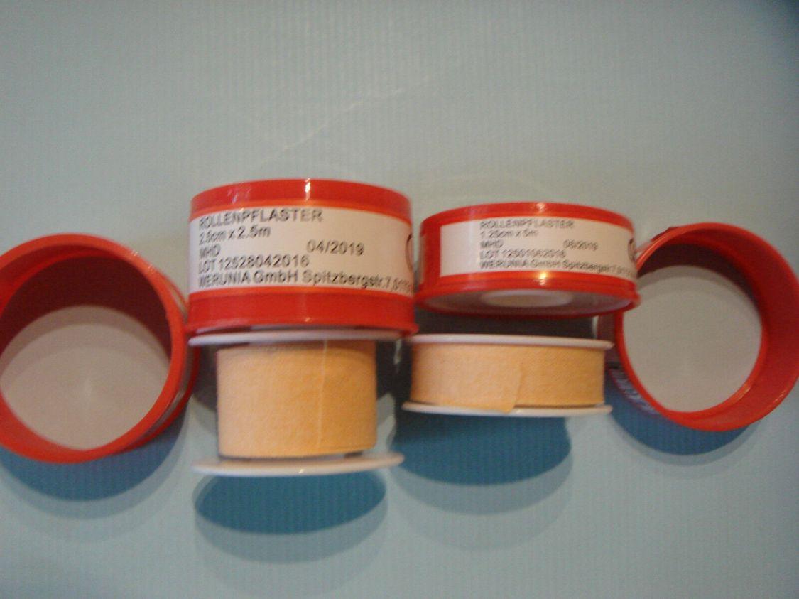 2 x Heftpflaster-Rollenpflaster in : 5m x 1,25cm oder 2,5m x 2,5cm - hautfarben