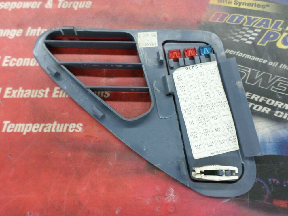 medium resolution of 1995 1999 oldsmobile aurora oem fuse box lid cover blue in color and in decent shape removed from a 1997 oldsmobile aurora check your part number and
