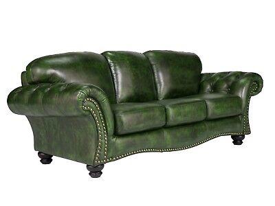 Sofa Chesterfield 3-Sitzer Echtleder grün Sitzmöbel Wohnen Büromöbel Bolton