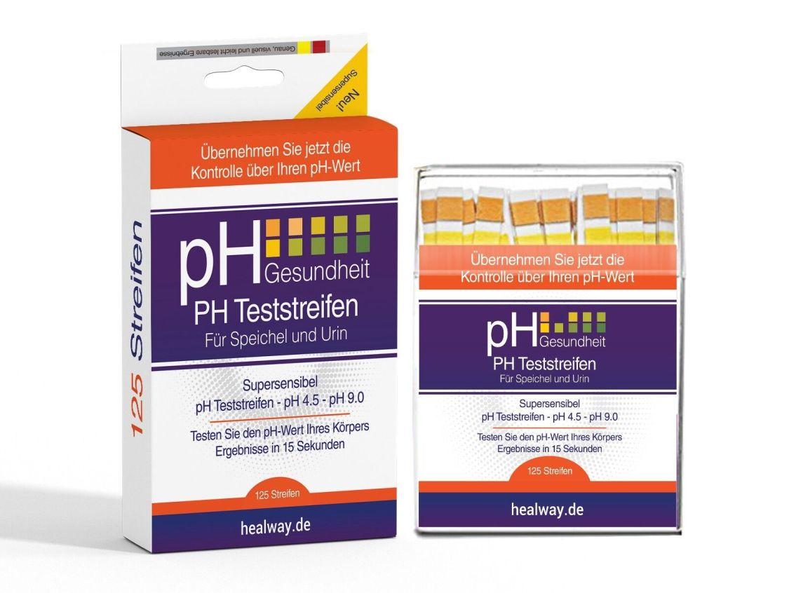 Healway pH Teststreifen 125 Stück - pH-Werte mit Speichel, Urin und anderen