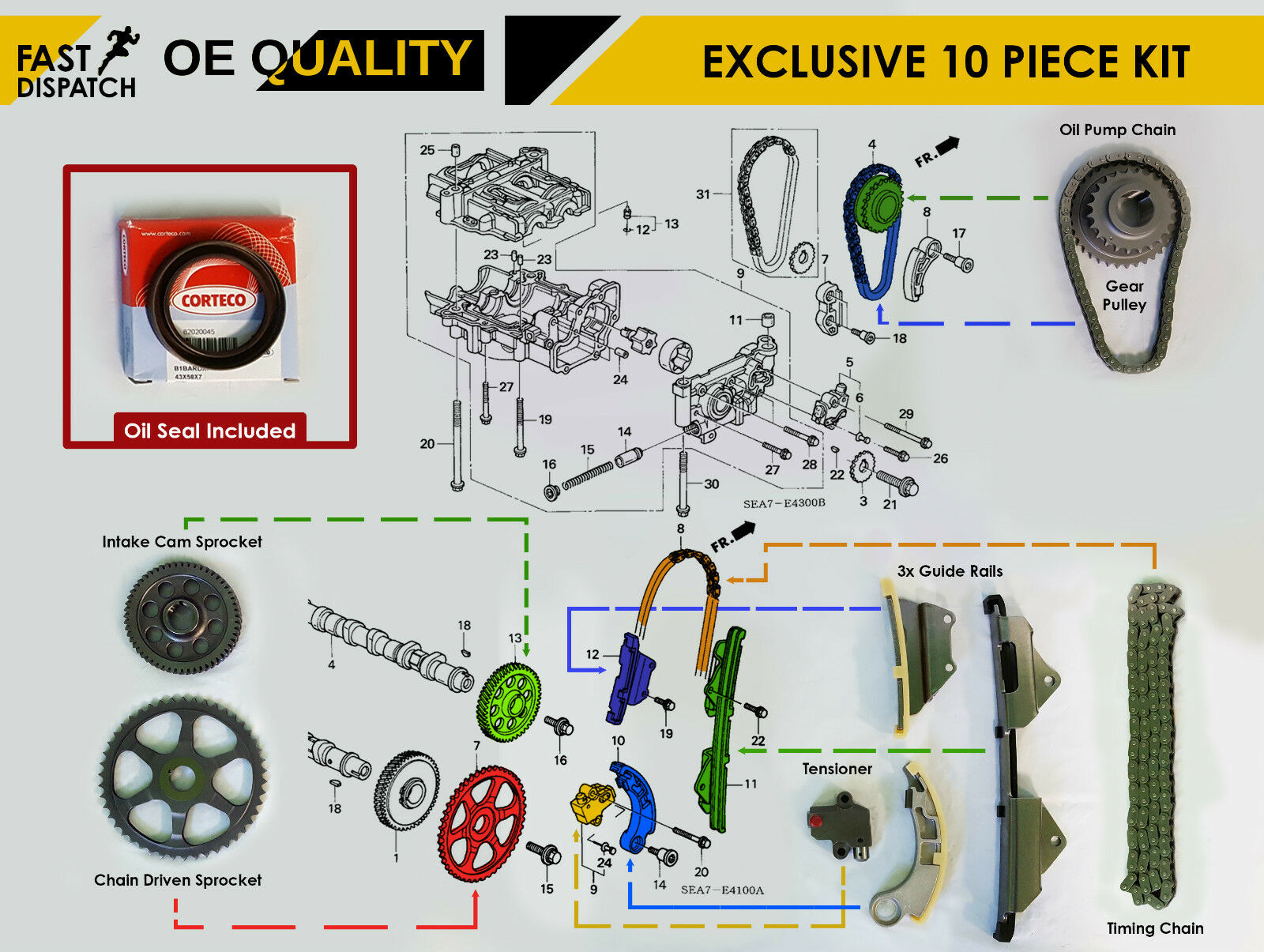 vauxhall corsa timing chain diagram basic wiring for race car honda accord civic crv frv 2 ctdi diesel full kit tensioner