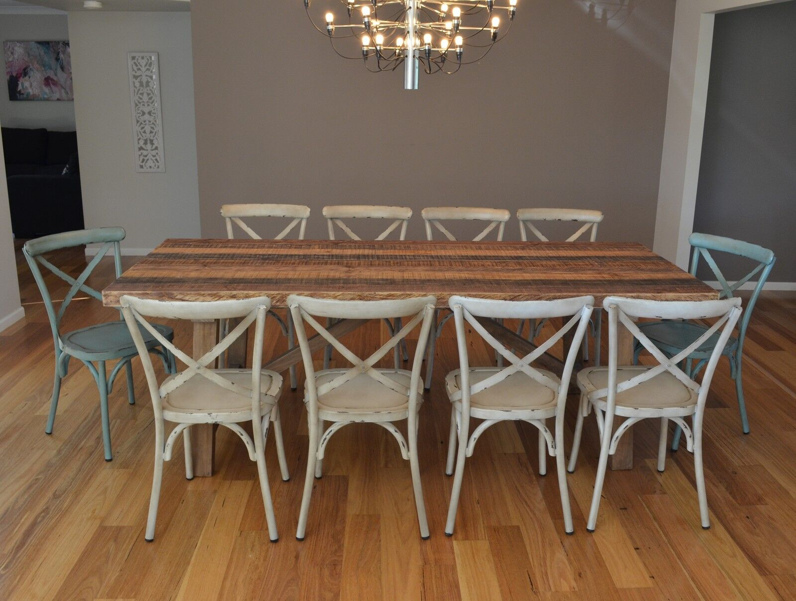 rustic metal dining chairs cheap chair covers australia new large 10 seater recycled timber table setting