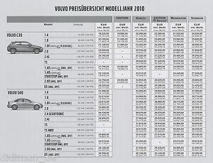 Volvo Preisliste 2010 Preise C30 S40 V50 C70 V70 XC60 XC70