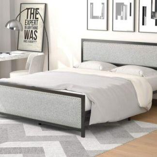Full Size Metal Bed Frame, Nailhead Trim Upholstered Headboard Footboard, Grey