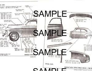 1949 1950 1951 1952 Chevrolet Body Panel Diagrams Parts