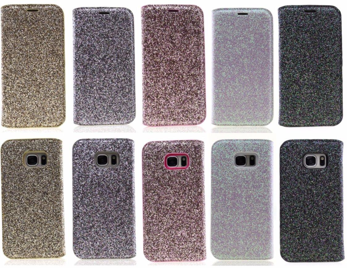 SAMSUNG S6 Edge Handyschutzhülle Glitzer einfarbig Kristall Buchtasche Bookcase