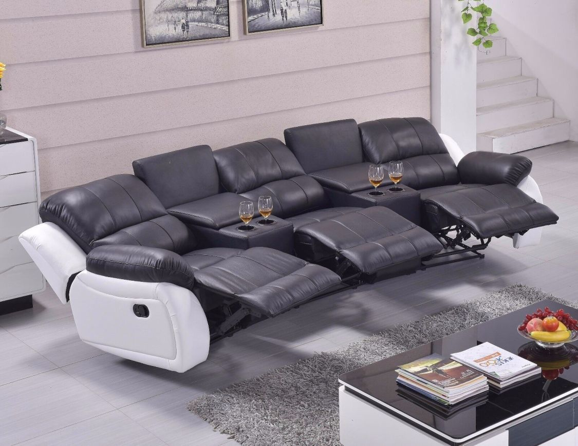 Leder Fernsehsessel Relaxsofa Kinosofa Relaxsessel Heimkino 5129-Cup-3-SW sofort