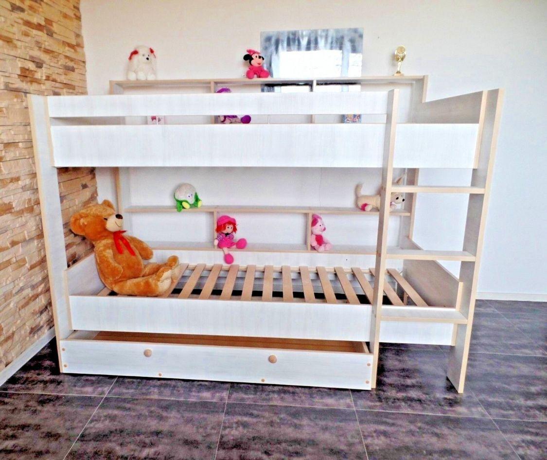 Hochbett Stockbett Etagenbett Jugend Kinderzimmer Rollrost Schublade 2Regale NEU