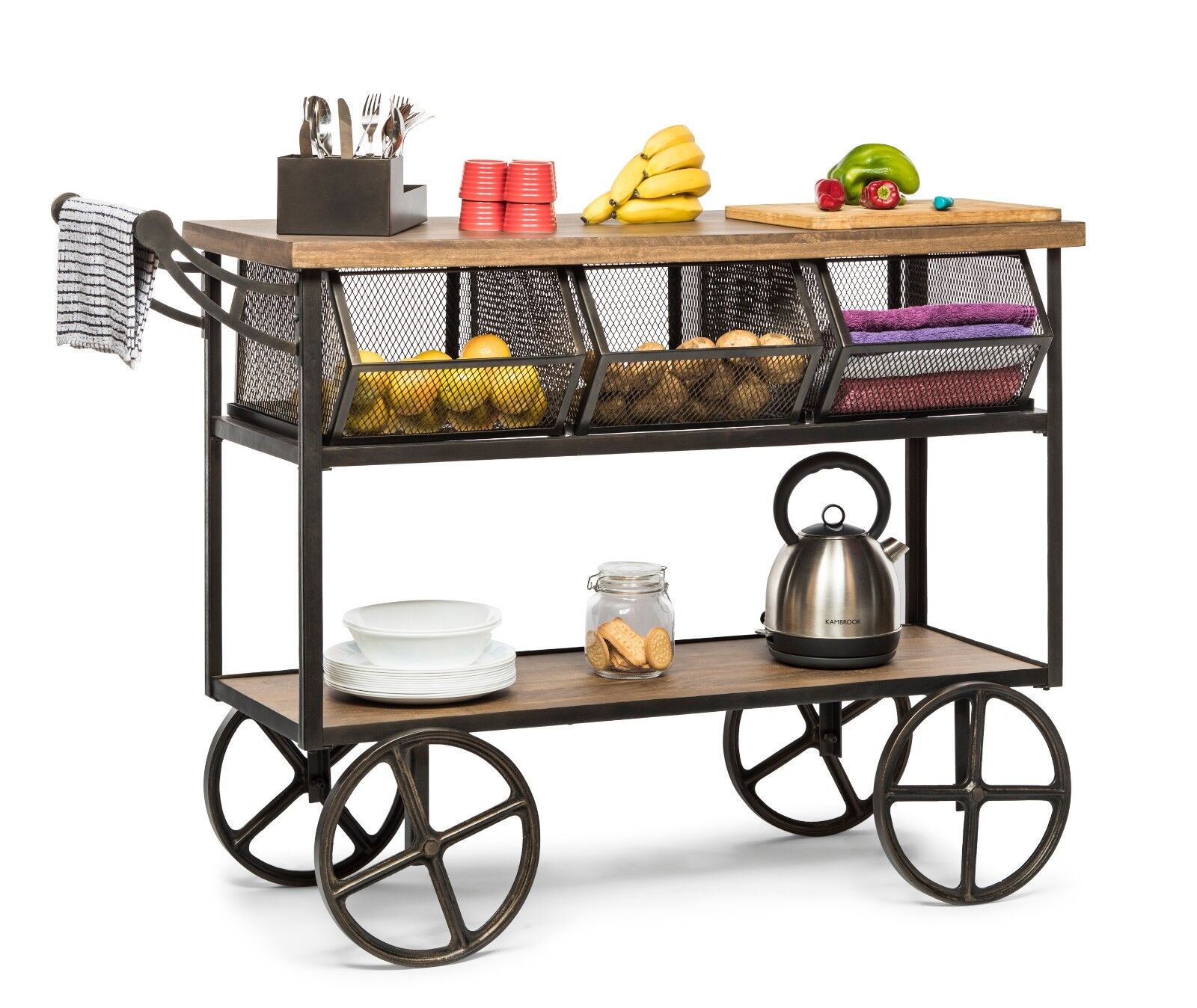 Kitchen Trolley Island Bench Storage Organiser Drawer 3 Shelves On Wheels Ebay
